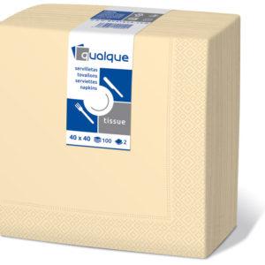12203 - Servilletas de papel 40x40 2 Capas Crema