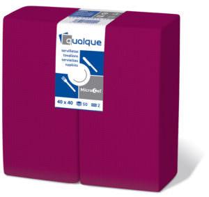 14241 - Servilletas de papel 40x40 MicroCel 1/8 Burdeos